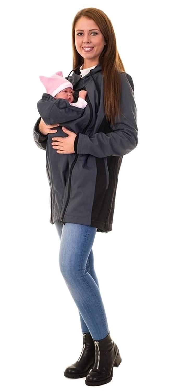 Divita Tragejacke für Tragetuch Babytrage Umstandsjacke Softshell Allwetter 3in1 Mama Baby