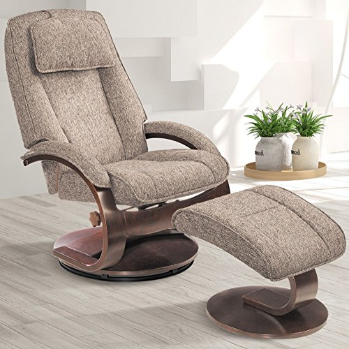(Comfort Chair Company Oslo Collection by Mac Motion Bergen Recliner and Ottoman in Teatro Graphite)