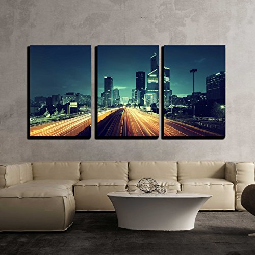 wall26 - 3 Piece Canvas Wall Art - Paris Ladefense in Sunset Time, France - Modern Home Decor Stretched and Framed Ready to Hang - 24