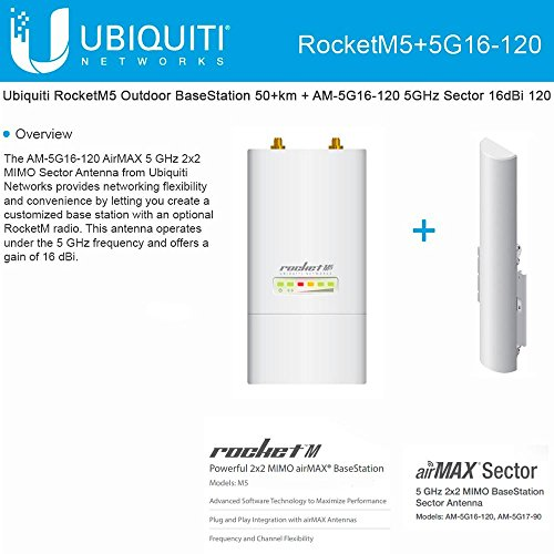 Ubiquiti RocketM5 Outdoor BaseStation 50+km + AM-5G16-120 5GHz Sector 16dBi 120 by UBNT