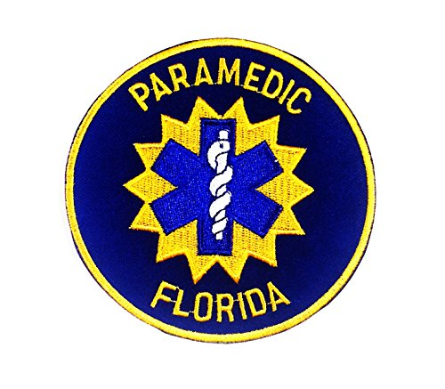 9.7 X 9.7 Cm Paramedic Florida Logo Embroidery Iron on Patch - Police Security (Paramedic Costume)