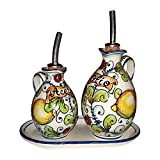 CERAMICHE D'ARTE PARRINI - Italian Ceramic Set Cruet Oil And Vinegar + Small Tray Art Pottery Hand Painted Made in ITALY Tuscan