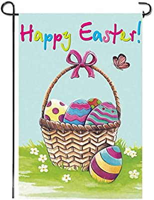 "12X18/"" Beautful Gift Basket Happy Easter Garden Flag Home Decor Yard Lawn Banner"