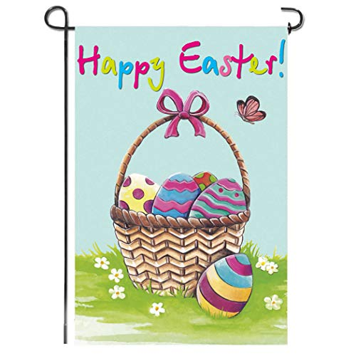 Shmbada Welcome Happy Easter Day Double Sided Garden Flag, Premium Polyester, Funny Egg Basket Outdoor Decorative Flags for Garden Yard Lawn Porch Patio Farmhouse, Gift for Children, 12 x 18 ()