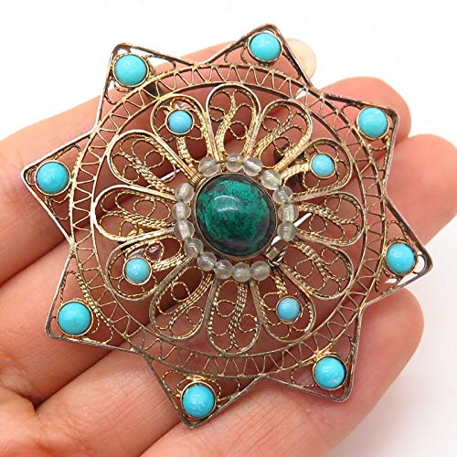 - VTG Israel 925 Sterling Eilat & Turquoise Filigree Sun Design Pin Brooch/Pendant Jewelry Making Supply by Wholesale Charms