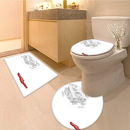 MikiDa U-Shaped Toilet Mat decomposed cube of puzzle and red element on white background Washable ()