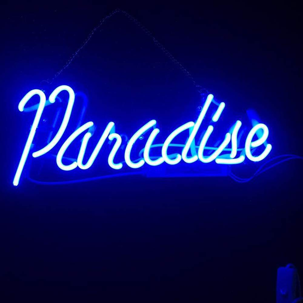 "Blue Paradise Real Glass Neon Sign Beer Bar Pub Store Home Room Party Light Sign Neon Lamp Wall Artwork Sign, Prepaid Custom Duty(14""x6"") HonE"