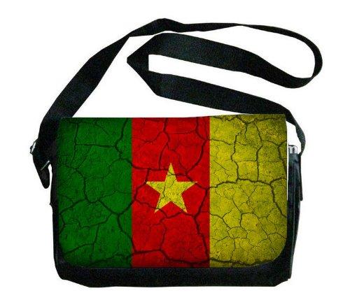 Cameroon Flag Crackled Design Messenger Bag