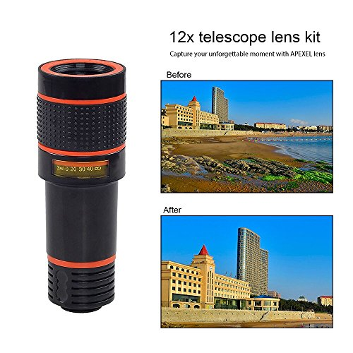 Cell-Phone-Camera-Zoom-Lens-Kit-4-in-1-HD-12X-Optical-Telescope-Zoom-Lens-Fisheye-Wide-Angle-Macro-Lens-with-Universal-Clip-Tripod-for-iPhone-676s-PlusSE-Samsung-Google-LG-and-Most-phones