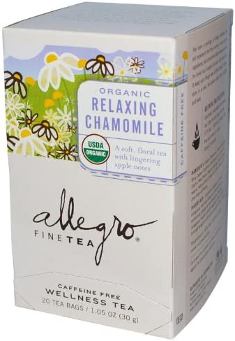 Allegro Fine Tea Organic Relaxing Chamomile Caffeine Free 20 Tea Bags 1.05 oz 30 g Pack of 6