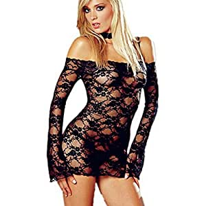 Women Large Size Sexy Nightwear Lace Long-sleeved Pajamas with G-string (Black)