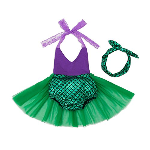 Mulfei Little Girls Tutu Dress Swimmable Mermaid Princess Bikini Swimsuits Halter Swimwear Set with Headband (0-3 Months) -