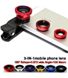VOLTAC ™` Universal Clip Type 3 in 1 Fish eye, Wide Angle & Macro Lens for All Android/Smartphones Pattern #218817