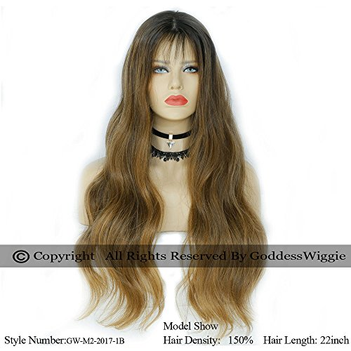 Balayage ombre Blonde Human Virgin Hair lace front glueless Body wave wigs with baby hair for white women and black women (20inch 130%) by Goddess