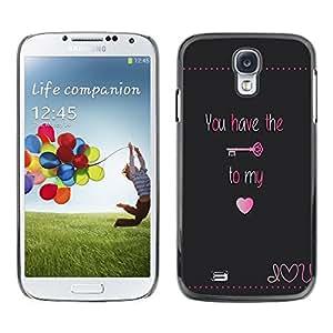 Caucho caso de Shell duro de la cubierta de accesorios de protección BY RAYDREAMMM - Samsung Galaxy S4 I9500 - Have Key My Heart Lock Text Valentines