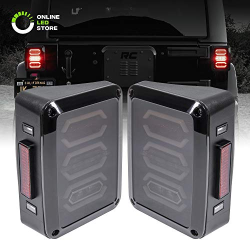 Smoked Lens LED Tail Light [Hexagon Design] [288 LEDs] [Plug n Play] for 2007-2018 Jeep Wrangler JK & Unlimited – Pair