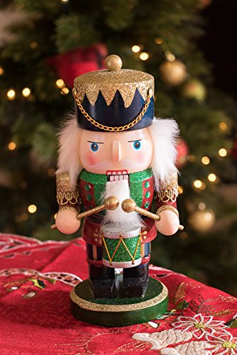 Red and Green Chubby Drummer Nutcracker by Clever Creations | Traditional Christmas Christmas Decor | 9'' Tall Perfect for Shelves and Tables | Must Have for Any Collection | 100% Wood by Clever Creations (Image #4)