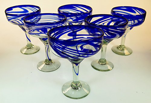 Mexican Glass Margarita Blue Swirl set of 6 by Mexican Margarita Glasses (Image #6)