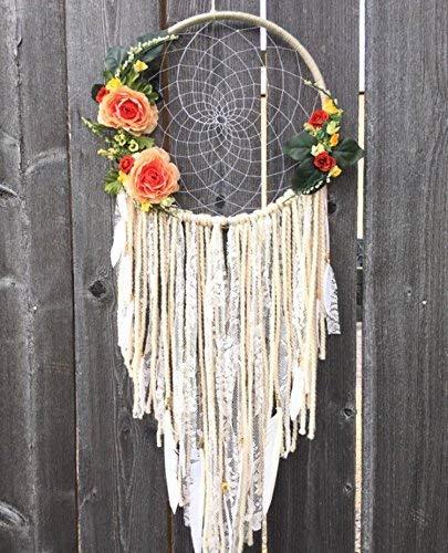 Flower Dreamcatcher, Boho Wallhanging, Boho Dreamcatcher, Bohemian Home Decor, Large Dreamcatcher, Nursery Decor, Wedding Dream Catcher, Floral Decor, Boho Wall Decor, Hippie Decor