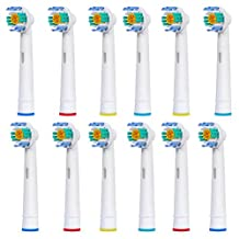 12 pcs (3x4) E-Cron® Toothbrush heads, Replacement for Oral B 3D White (EB18-4). Fully Compatible With The Following Oral B Electric ToothBrush Models: Vitality Precision Clean, Vitality Floss Action, Vitality Sensitive, Vitality Pro White, Vitality Dual Clean, Vitality White and Clean, Professional Care, Triumph, Advance Power, TriZone, Smart Series.