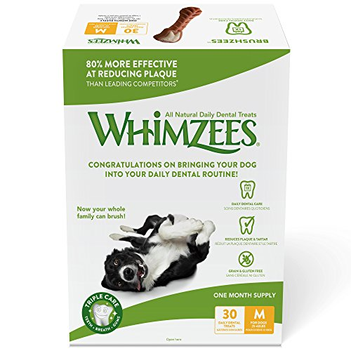 Whimzees 30 Day Pack Dog Dental Treats, Medium Brushzees, Pack Of 30