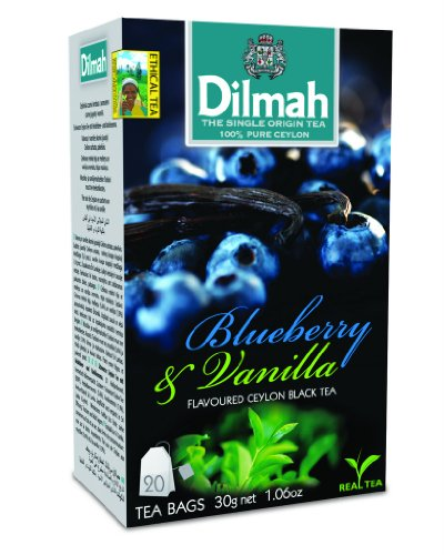 Dilmah Fun Tea, Blueberry & Vanilla, Single Origin Pure Ceylon, 20 Count String & Tag, Pack of 4