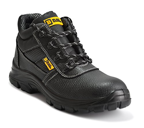 Black Hammer Mens Leather Safety Waterproof Boots S3 SRC Steel Toe Cap Work Shoes Ankle Leather 1007 (9 D(M) US) Black (Best Steel Cap Work Boots)