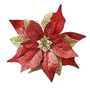Hanobo 8Pcs Gold Glittery Artificial Christmas Flowers Christmas Tree Ornaments Dia 8.3 Inch 3
