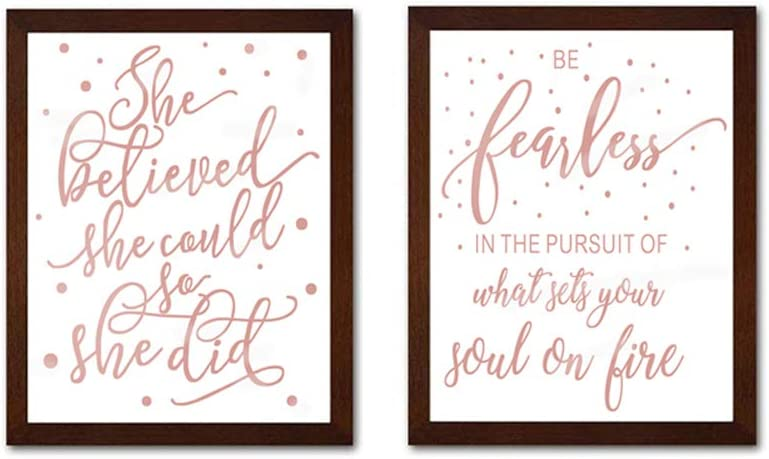 Inspirational Cardstock Art Print, She Believed She Could so She Did Quote Rose Gold Foil Print Framed Two(8x10 inch) Lettering Wall Art for Girls Bedroom Decor- Walnut Color Frames Ready to Hang