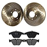 Prime Choice Auto Parts BRKPKG004032 [Front set] 3 Pieces - 1 Ceramic Brake Pad 2 Silver Drilled And Slotted Performance Brake Rotors