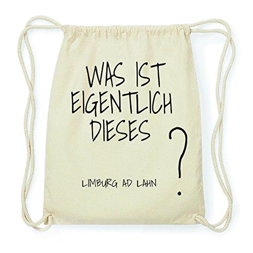 JOllify LIMBURG AD LAHN Hipster Turnbeutel Tasche Rucksack aus Baumwolle - Farbe: natur Design: Was ist eigentlich