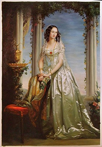 Duchess Coffee (Portrait Of Grand Duchess Zinaida Yusupova - Christina Robertson high quality hand-painted oil painting reproduction,Beautiful Girl in Gorgeous Dress Art)