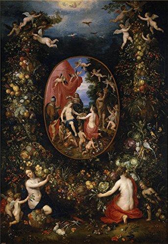 Oil Painting 'Brueghel The Elder Jan Balen Hendrik Van Cibeles Y Las Estaciones Dentro De Un Feston De Frutas Antes De 1618' 10 x 15 inch / 25 x 37 cm , on High Definition HD canvas prints, Ba decor
