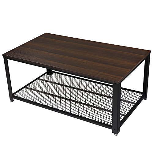 SONGMICS Antique Coffee Table Dark Walnut Cocktail Table with Storage Shelf for Living Room ULCT61K