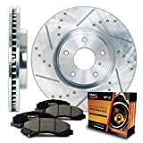 Front Silver Slotted & Cross Drilled Rotors and Ceramic Pads Brake Kit KT044511 | Fits: 2009 09 2010 10 2011 11 Toyota Matrix 1.8L Models