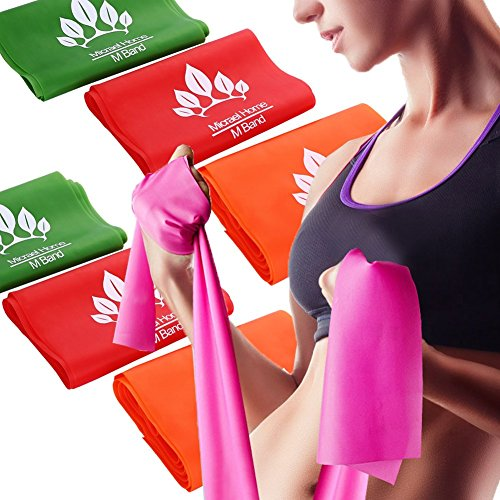 Micrael Home Solid Exercise Resistance Band Set of 3 Long Fitness Stretch Bands Home Gym Kit For Strength Training, Physical Therapy, Pilates, Chair Exercises 59 x 5.9 - Bands Flat Therapy