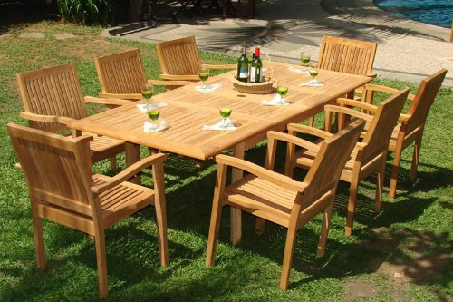 New 9 Pc Luxurious Grade A Teak Dining Set 94 Rectangle Table And 8 Stacking Leveb Arm Chairs WHDSLVd
