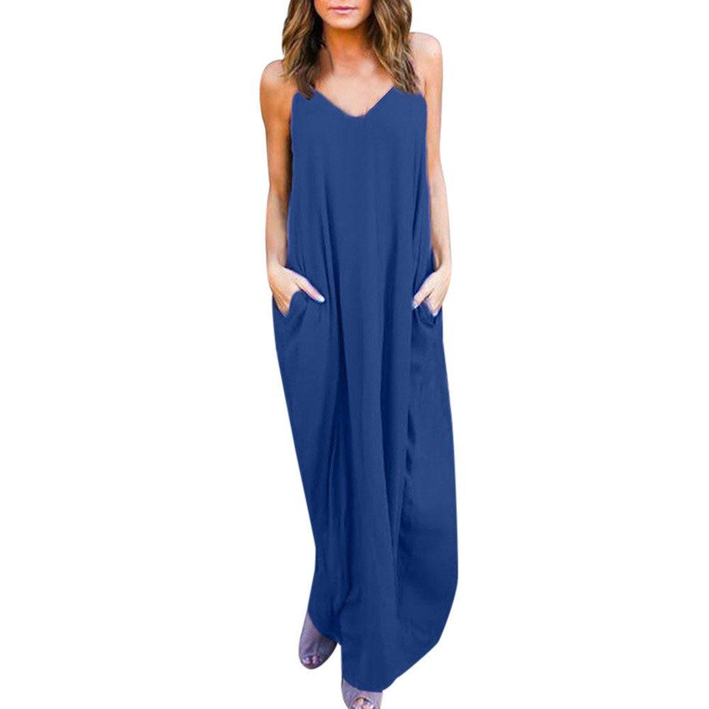 POTO Dress Women, V Neck Polka Dot Print Strappy Boho Long Maxi Dresses Loose Beach Dress Sundress