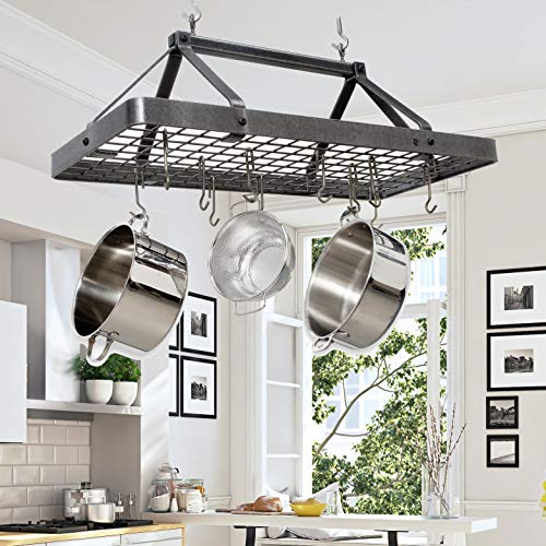 - Handcrafted Carnival Rectangle Hanging Pot Rack w 18 Hooks Hammered Steel