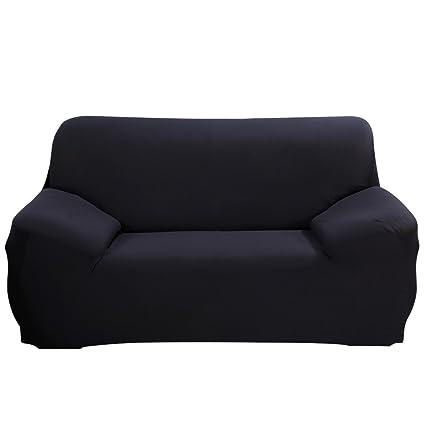 Funda elástica de tela para sofás, de ParaCity, negro, 2 seater:140-185cm