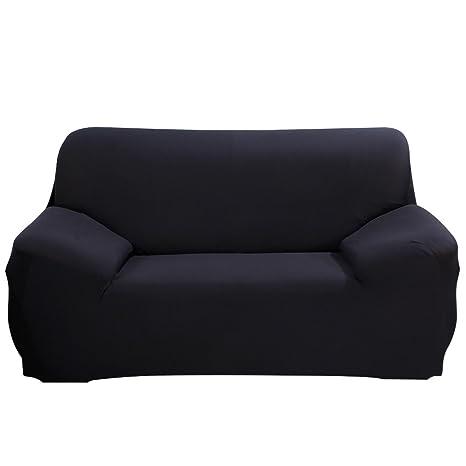 SHANNA Funda de sofá 1 2 3 4 Funda de sofá Funda de Asiento Antideslizante sofá sofá sofá elástico Tejido Protector por, Negro, 2-Seater Chair + 1pcs ...