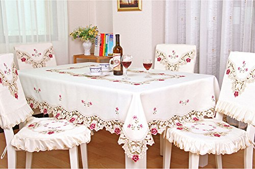 Judy Dre am Contracted European Style Cutwork Rustic Table Doily Handmade Embroidery Flower Handmade Tablecloth Durable Washable Table Cloths Rectangl…