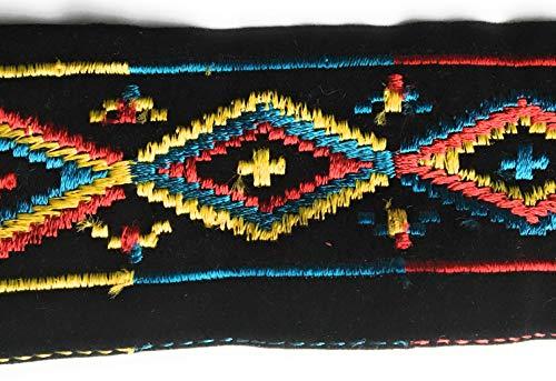 Trim Millinery (2 Yards Multi Color Embroidery Velvet Trim Black Velvet Trim 2