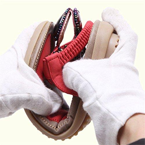 Fanessy Tongs Plage à Toe à Mode Bohème Perlée Talons Rouge en d'Été Porter Casuel Femme de Clip Style Plats Sandales Confortable rqAHfrt