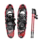 "Gpeng Snowshoes 14"" /21""/ 25""/ 27""/ 30"" for Adults Men Women Youth Kids with Pair Antishock Snowshoeing Poles , Adjustable Ratchet ,Free Bag"