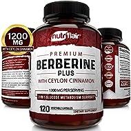NutriFlair Premium Berberine HCL 1200mg Plus Organic Ceylon Cinnamon - 120 Capsules - Healthy Blood Sugar, Glucose Metabolism, Immune System, Insuline Support - Berberine HCI Root Supplement Pills