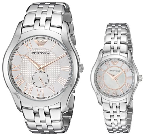 Emporio Armani Men's and Women's AR 9114 Box Set Silver Quartz Watch