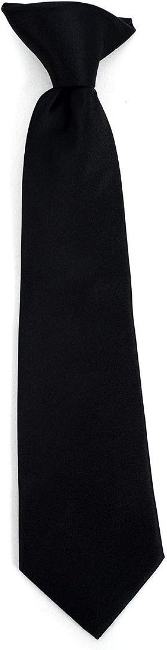 New Vesuvio Napoli Kid/'s Boy/'s Clip On Pre-tied Necktie size 14 Black Formal