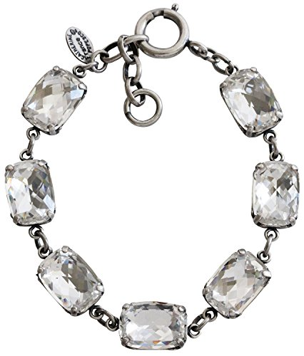 Crystal Rectangular Bracelets (Catherine Popesco Silvertone Crystal Rectangular Bracelet, Clear 1606)