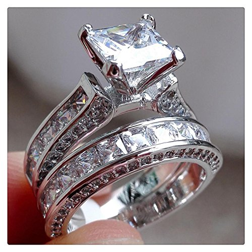 Diamond Ring, Vintage Women Men Couple Ring Set for Valentine's Day Gift By Litetao, Wedding Engagement Jewelry (C-8)
